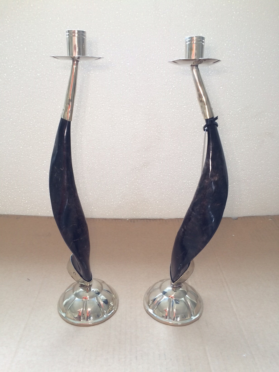 Large Horn and Silver Candlestick Holders (set of 2)