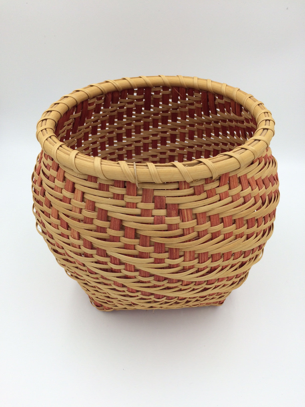 Sweet Annie Red & Natural 1-2-3 Twill Handmade Basket
