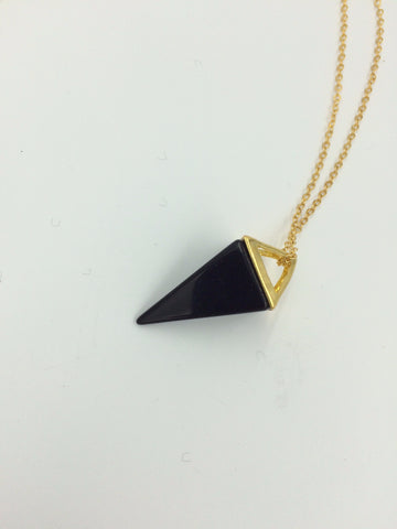 "24"" 14k Gold Necklace with Black Onyx Crystal Triangular Pyramid Pendant"