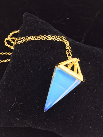 "24"" 14k Gold Necklace with Clear Opalite Crystal Triangular Pyramid Pendant"