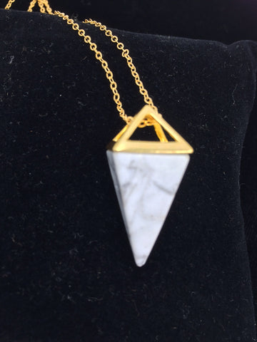 "24"" 14k gold necklace with Marble Howlite Crystal Triangular Pyramid Pendant"