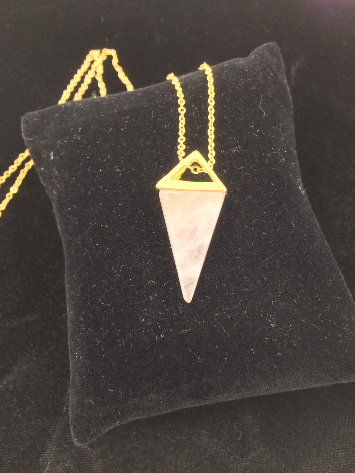 Rose Quartz Crystal Triangular Pyramid Pendant
