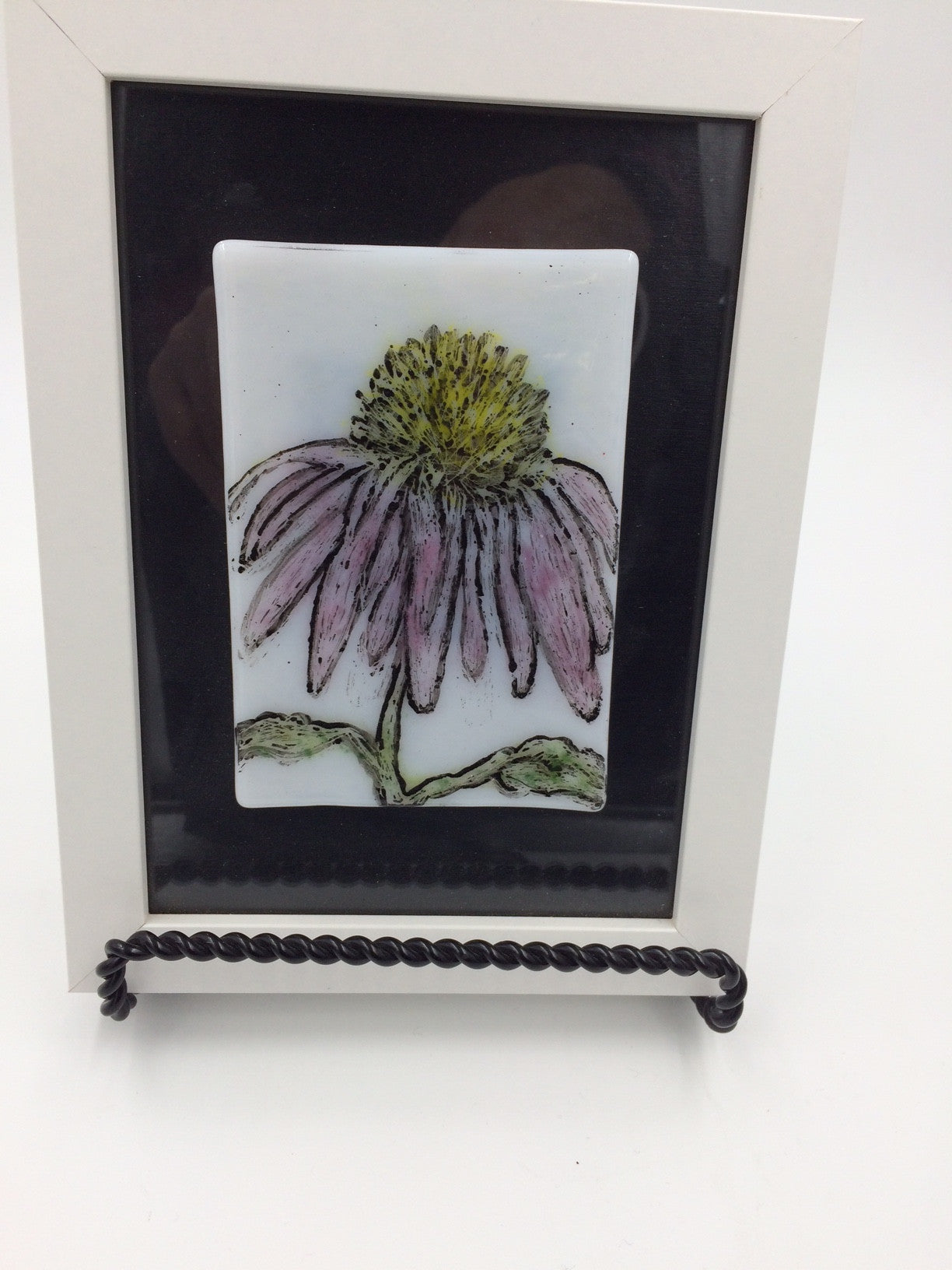 "Odette Monaghan ""Echinacea 2"" Fused Glass Picture"