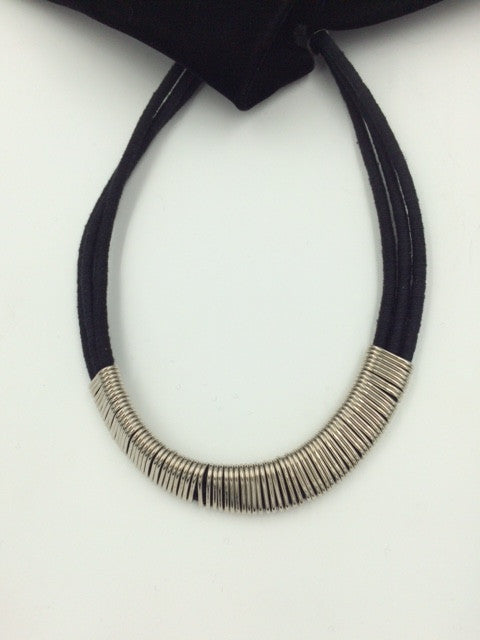 Suzie Blue Black Cotton Wrap & Metal Necklace