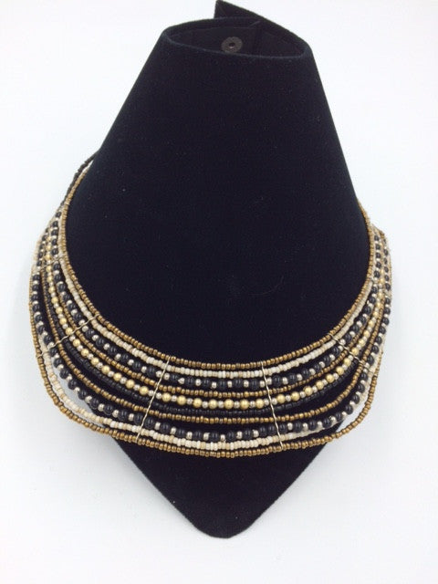 Suzie Blue Gold & Black Beaded Collar Necklace