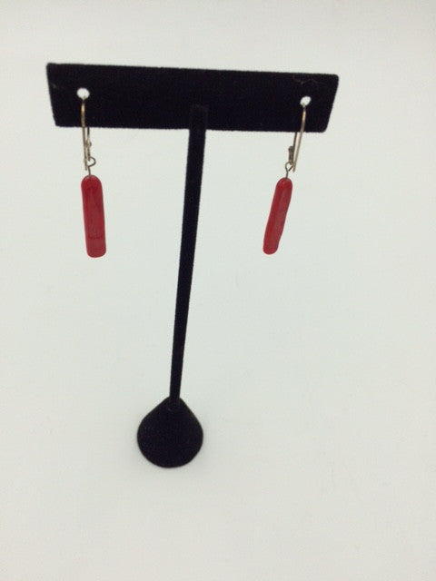 Verre Long Skinny Red Glass Earrings with Sterling Findings