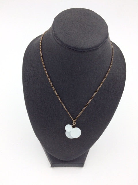 Verre Triple White Glass Disk Necklace w/Sterling Silver Findings