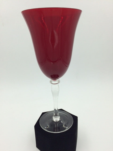 Red Hand-Crafted Wine Goblet with Clear Glass Stem