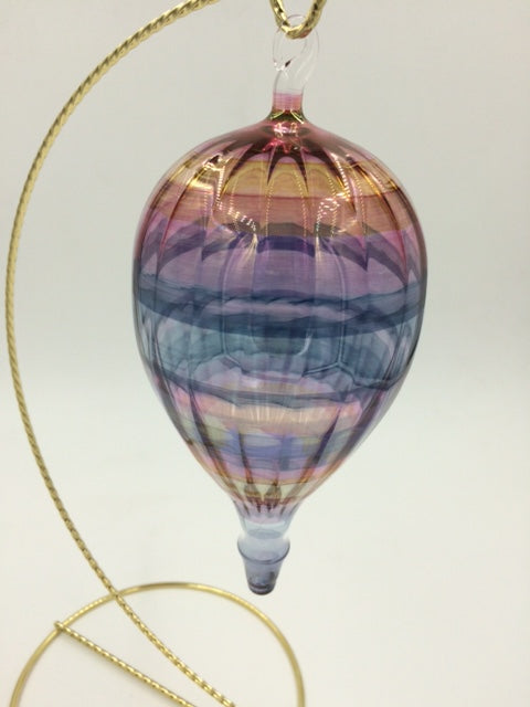 "Bandhu Dunham Blown Glass ""Hot Air Balloon"" Ornament"
