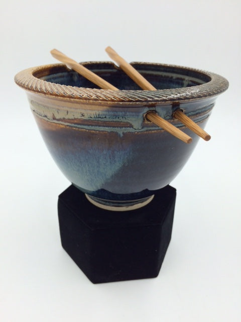 Jason Bove Light and Dark Blue Glazed Ceramic Rice Bowl with Chopstick Rests