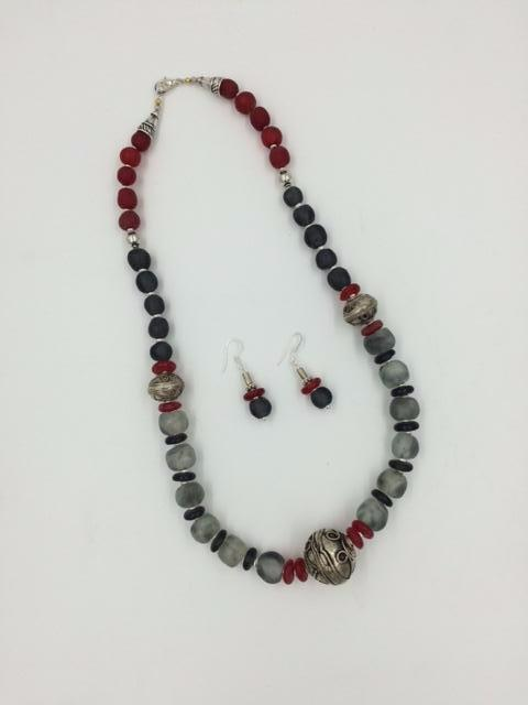 Judy Decker Scarlet & Grey Glass and Silver Bead Necklace and Earrings Set