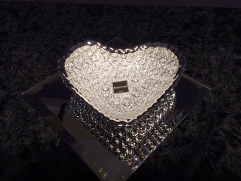 Argenesi Diamante Glass Heart-Shaped Dish in Silver