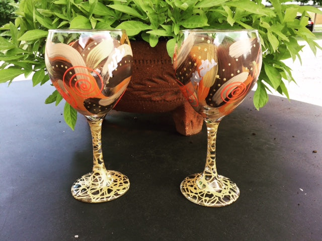 Klaire Russell Hand-Painted Red Wine Glass