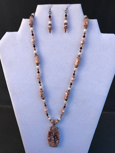 Kimberly Vaughn Crazy Lace Agate Necklace & Earring Set