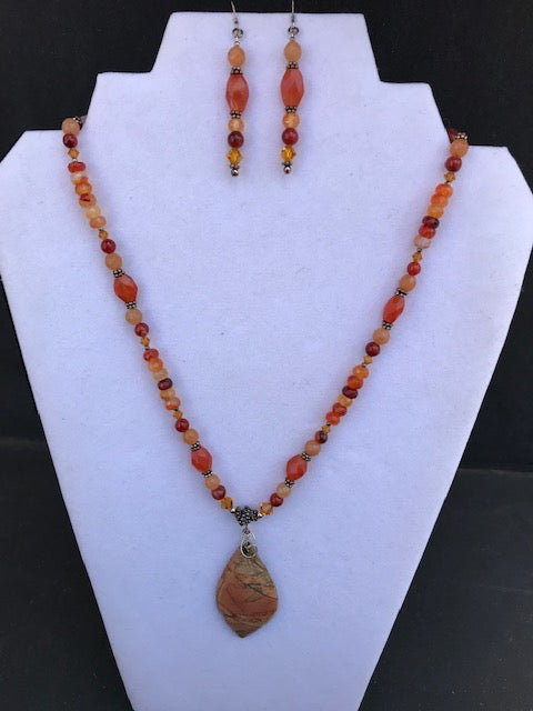 Local Artist of the Week: Kimberly Vaughn-Picasso Jasper & Carnelian Sunstone Necklace and Earring Set