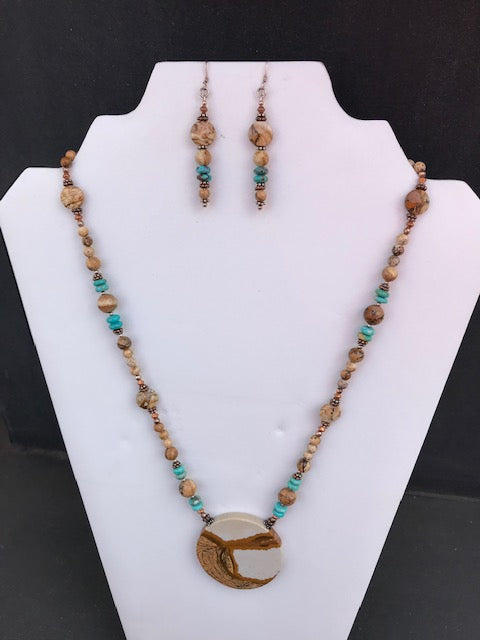 Kimberly Vaughn Picture Jasper and Turquoise Necklace and Earring Set