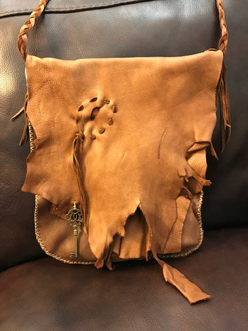 "Local Artist of the Week: Kimberly Vaughn-Large Chocolate Deerskin Bag with ""Bullet Hole"" Patch"