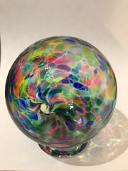 This beautiful multi-color glass storage bank for wishes, dreams, blessings, and thoughtful ideas includes a notepad of 52 slips of paper on which your treasured thoughts can be recorded and inserted into the wishing ball (or gratitude ball) for safe keeping. Footed glass ball measures approximately 3 and one-half inches in diameter.