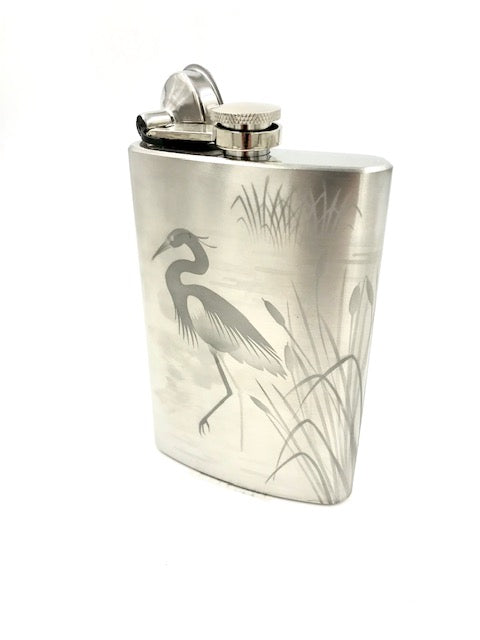 Jaguar Heron & Cattails Stainless Steel Flask