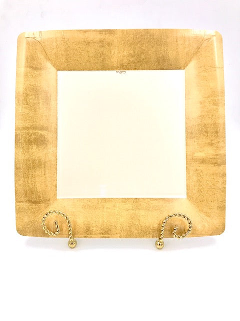 Caspari Gold Square Dinner Plate