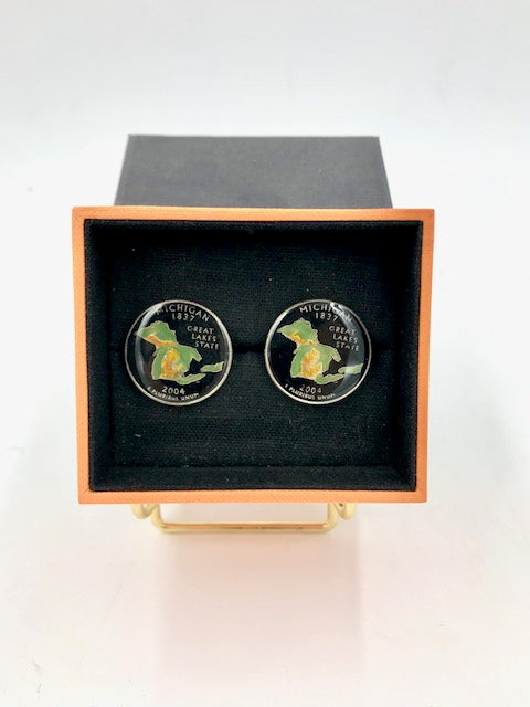 Cufflinks-Hand Painted State of Michigan and Great Lakes