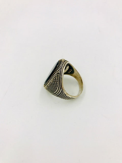 Men's Oval Onyx Silver Ring (9.5)