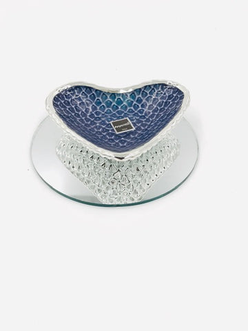 Argenesi Diamante Glass Heart-Shaped Dish w/Silver Back