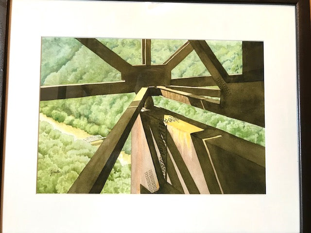 "Janealla Killebrew: ""Under the Bridge, Over the Bridge"" Watercolor Painting"