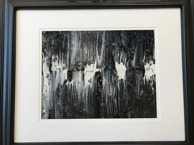 "Vicky Bauman: 20"" x 24"" Abstract Black & White Painting in Black Frame"