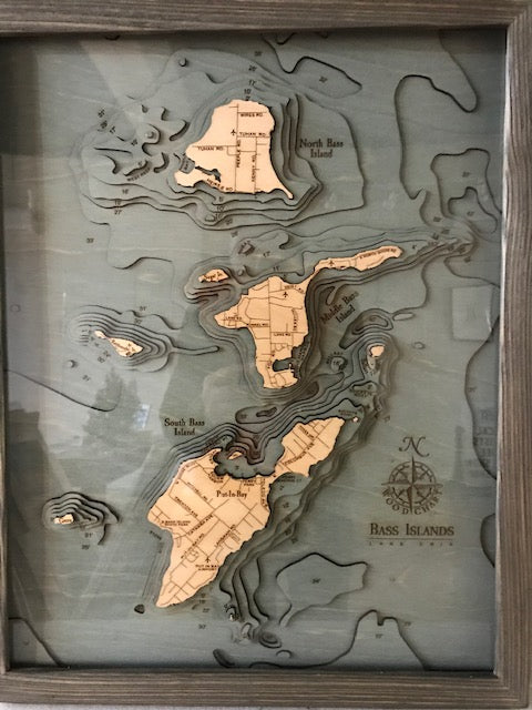 Wood Chart Nautical Map of Put-In-Bay & Bass Islands