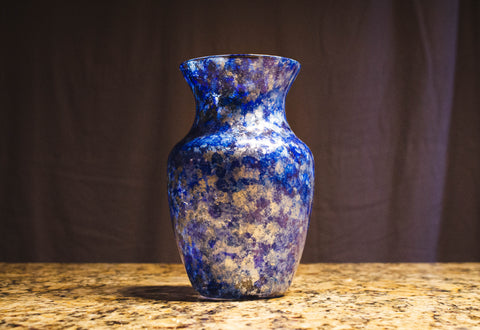 "Vicky Bauman: 8"" Tall Hand Decorated Vase with Mini Lights Inside"