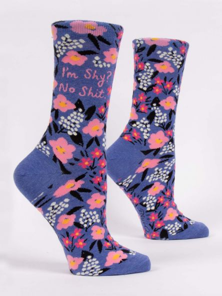 "BlueQ Women's Crew Socks ""I'm Shy? No Shit"""