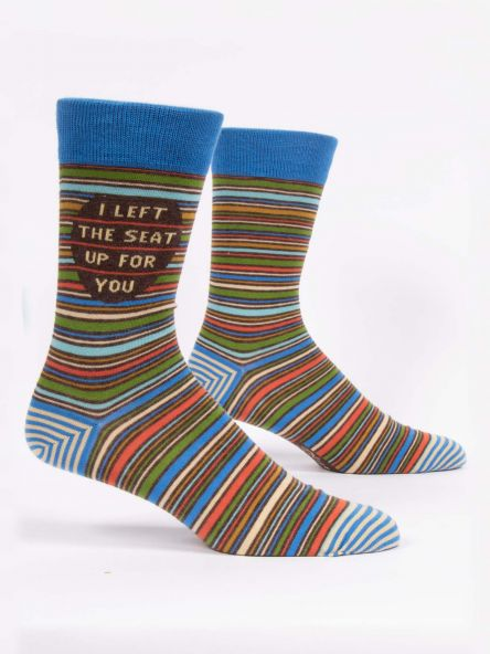 "BlueQ Men's Crew Socks: ""I Left the Seat Up For You"""