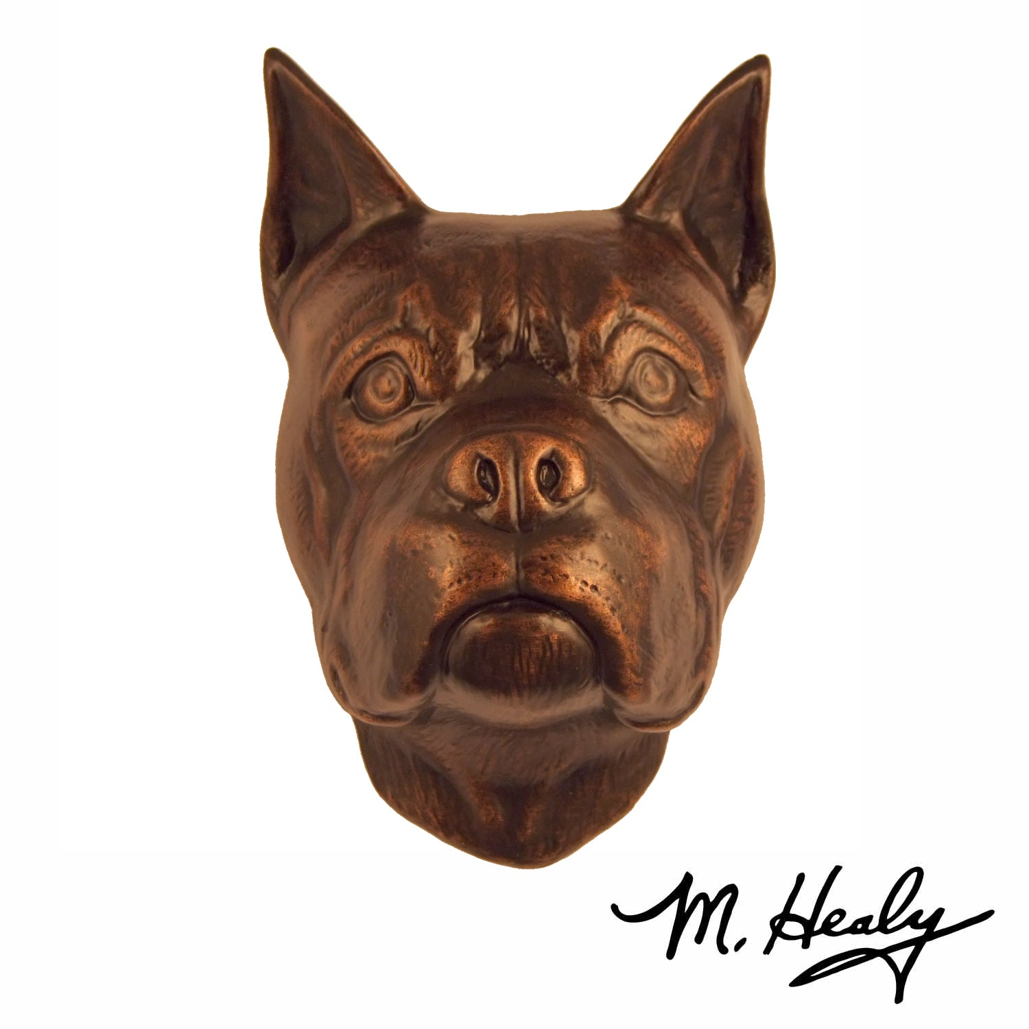Michael Healy Door Knocker: Oiled Bronze Cast Aluminum Dog Knocker (Boxer)