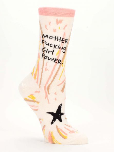 "Woman's novelty fun crew sock with legend: ""Mother Fucking Girl Power"""