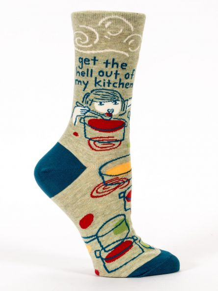 "Woman's novelty fun crew sock with legend: ""Get the Hell Out of My Kitchen"""