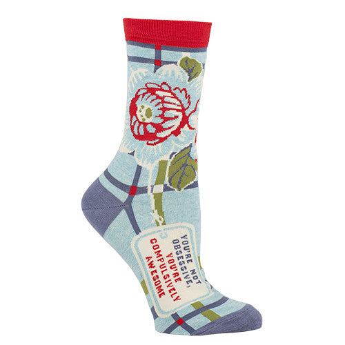 "BlueQ Women's Crew Socks ""You're Not Obsessive, You're Compulsively Awesome"""