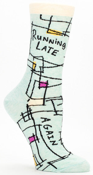 "BlueQ Women's Crew Socks ""Running Late, Again"""