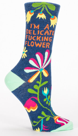 "Woman's novelty fun crew sock with legend: ""I'm A Delicate Fucking Flower"""