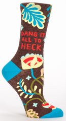 "BlueQ Women's Crew Socks ""Dang It All To Heck"""