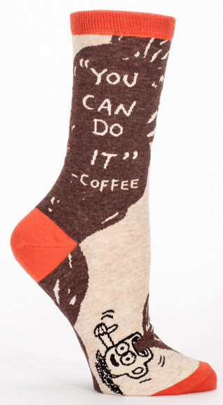 "Woman's novelty fun crew sock with legend: ""You Can Do It Coffee"""