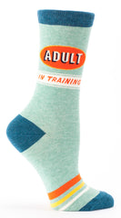 "Woman's novelty fun crew sock with legend: ""Adult In Training"""