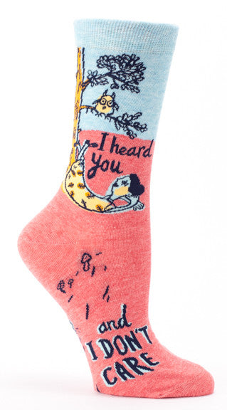 "Woman's novelty fun crew sock with legend: ""I Heard You, And I Don't Care"""