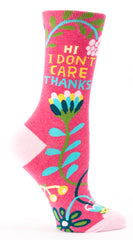 "Woman's novelty fun crew sock with legend: ""I Don't Care. Thanks"""
