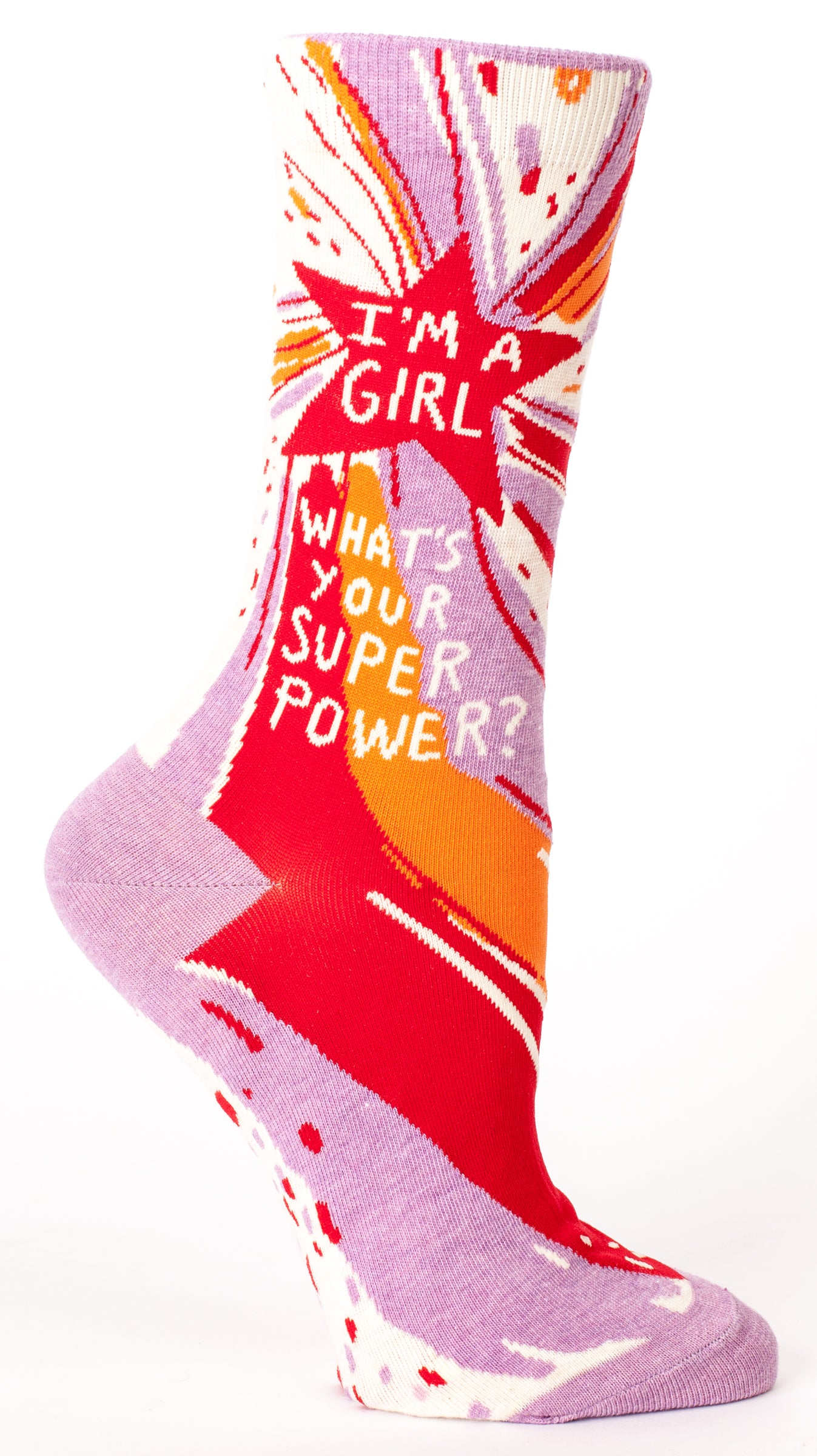 "Woman's novelty fun crew sock with legend: ""I'm A Girl-What's Your Superpower?"""