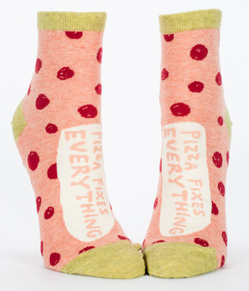 "Woman's novelty fun ankle sock with legend: ""Pizza Fixes Everything"""