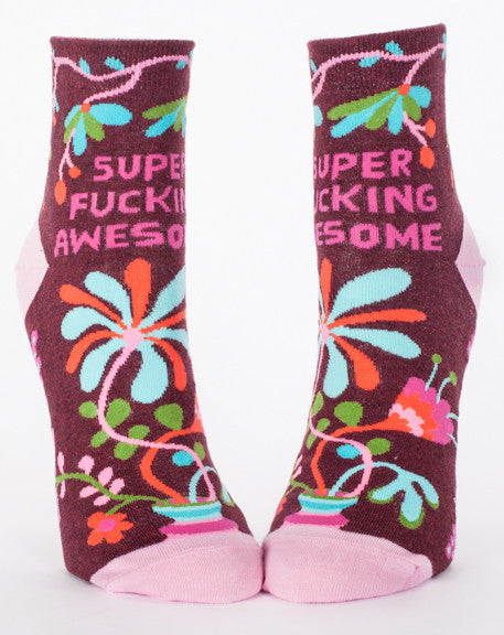 "Woman's novelty fun ankle sock with legend: ""Super Fucking Awesome"""
