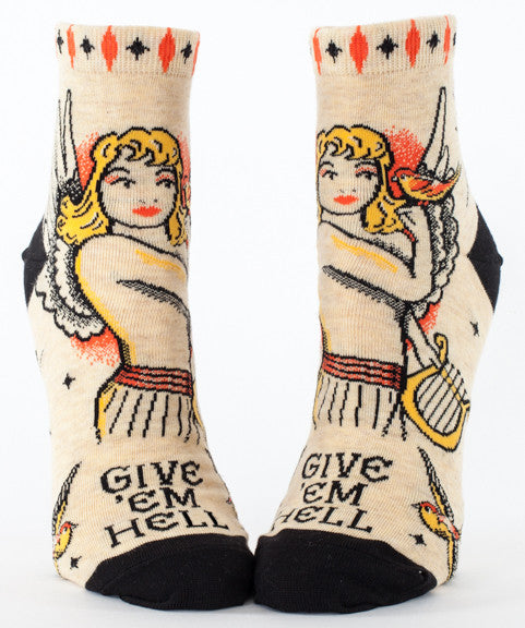 BlueQ Women's Ankle Socks: Give 'Em Hell