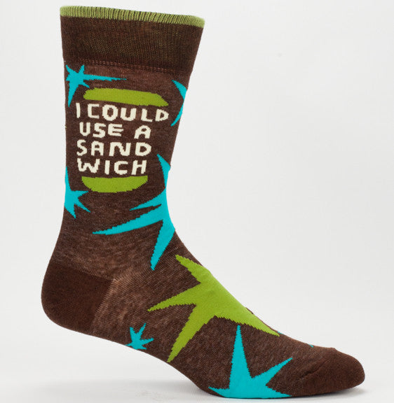 "BlueQ Men's Crew Socks: ""I Could Use A Sandwich"""