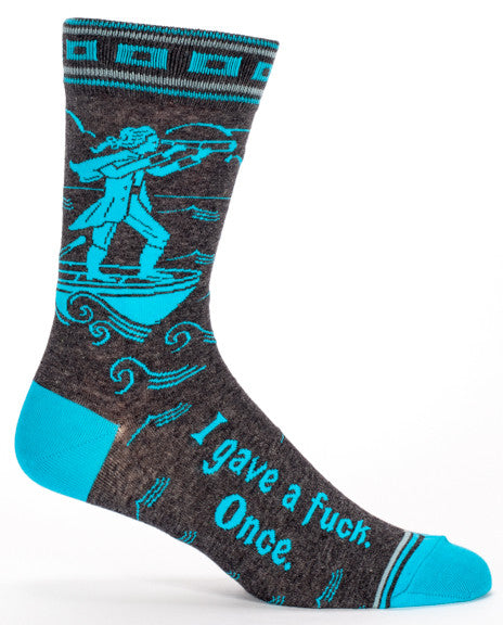 BlueQ Men's Crew Socks: I Gave A Fuck Once